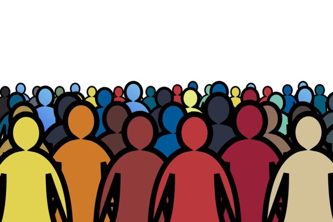 Cartoon image of a crowd of people