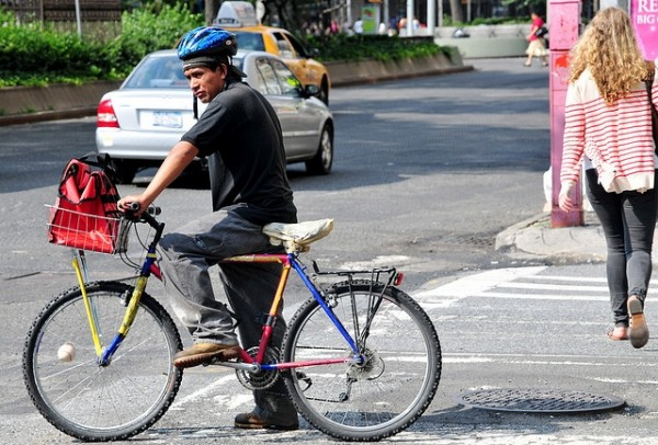 New York Cyclists Get Safety Lights and Helmets