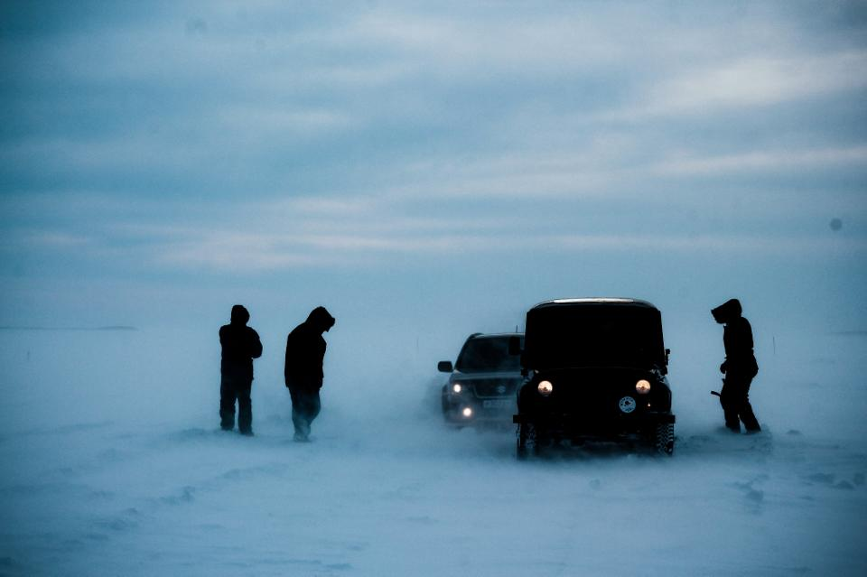 Ice road near Salekhard, Russia.