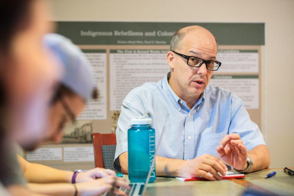 Professor Paul Barclay teaches a history class.