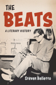 Cover of The Beats: A Literary History, with a drawing of a man wearing glasses sitting and reading a book
