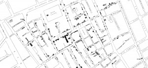 A portion of Snow's famous map of cholera cases in London in 1854.