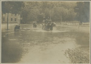 """3rd Street at the foot of College Hill during the """"pumpkin flood"""" of 1903."""
