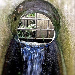 Water pouring into an outlet structure (view from inside) - submitted by Emily Maj