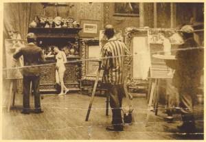 40:2  William Merritt Chase studio, Tenth Street, New York City, ca. 1891.  Christy at left.