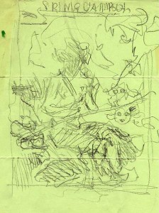 43:2  Sketch for The Lambs Spring Gambol program cover, 1938.