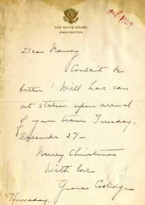 5:100  Grace Coolidge to Nancy Palmer Christy, ALS, Oct. 1927.