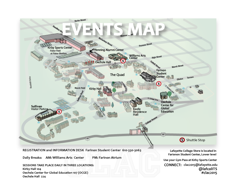 A map of the college's campus, with conference locations highlighted.