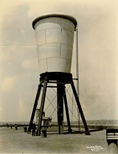 Dixie-cup-shaped water tower on top of the plant in Easton, Pennsylvania in the 1920s.