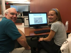 GIS Librarian John Clark works with Molly Leech '17
