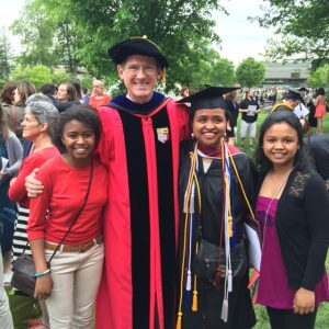 Rebeka with Clara Randimbiarimanana ('18), Prof. Stifel, and Prisca Ratsimbazafy ('17).