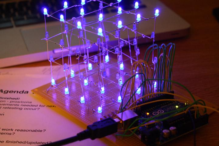 4x4x4 RGB LED cube kit Freetronics