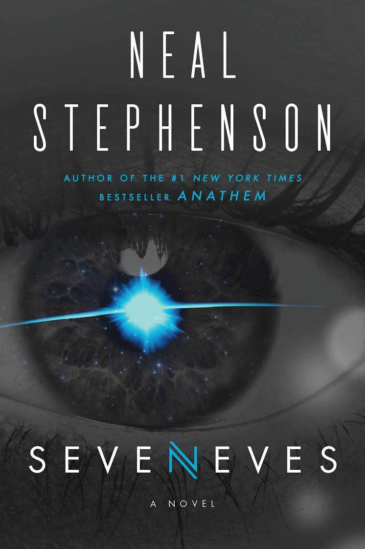 Cover art for the novel Seveneves, which features a close-up of an eye with a blue crescent flare.