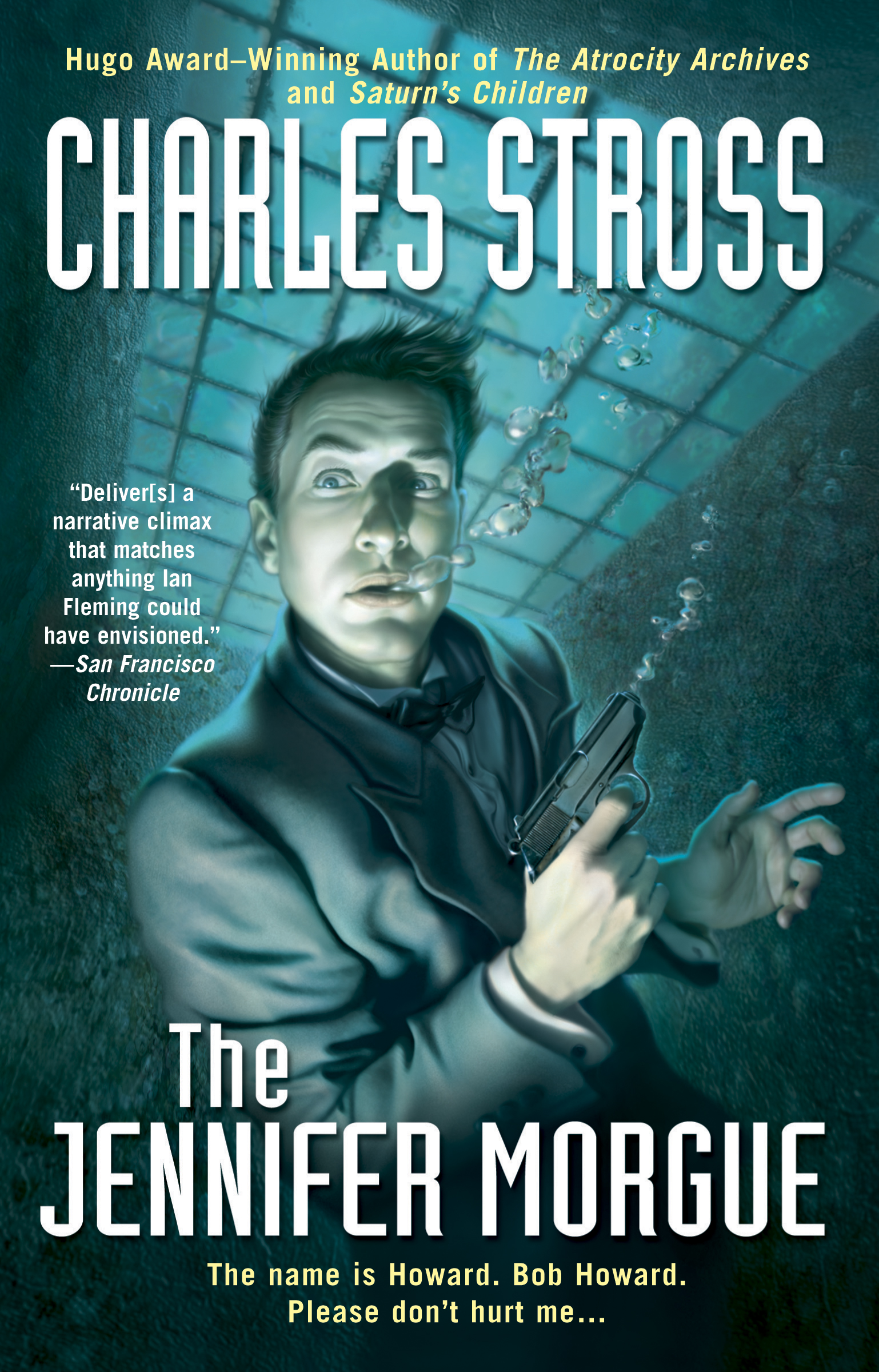 Bob, the main character of the novel, is suspended in a watery cage while wearing a business suit.