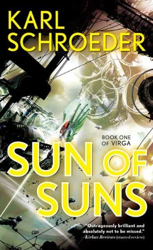 A rocket-powered bike flies past an immense spinning city in the cover art for Sun of Suns.