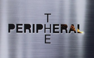 "The text ""The Peripheral"" written in black lettering over a chrome background."
