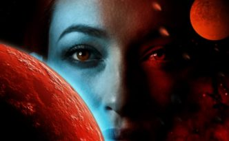Two red planets obscure the blue, red, and black toned face of a woman.