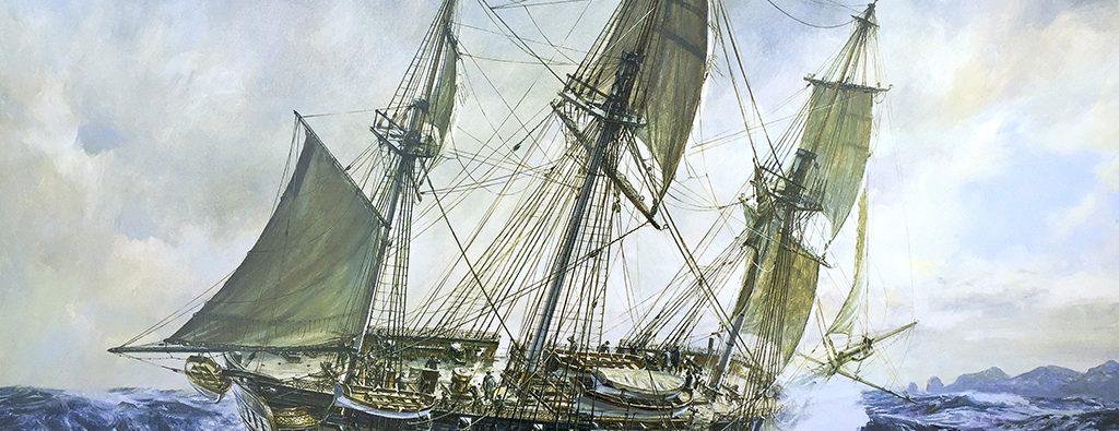 A three-masted sailing ship sails across a turbulent blue ocean.
