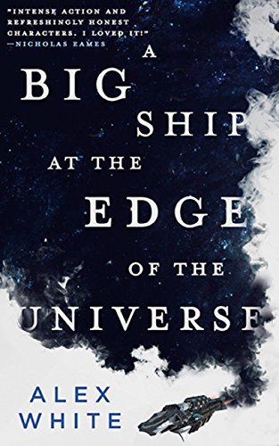A book cover dominated by a striking mix of black and white clouds, with a small starship in the lower-right corner.