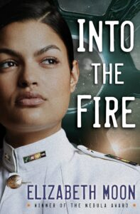 Cover art for Into the Fire, which features a woman in a white uniform looking off to the right.