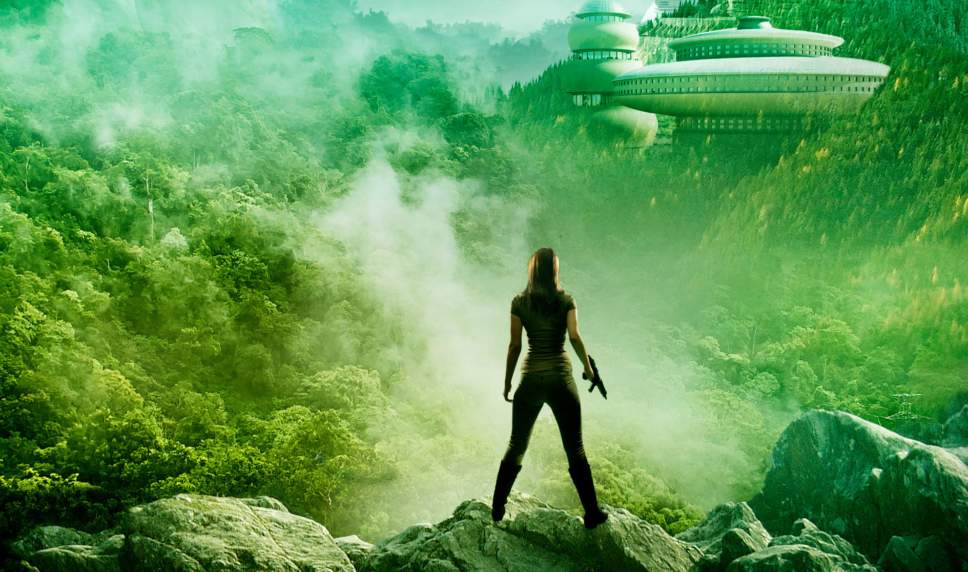 A silhouette of a woman in front of an alien jungle landscape.