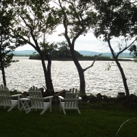 The view of Lake Champlain from the cabin's front yard