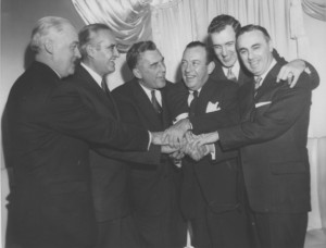 Robert Meyner accompanied by Lyndon B. Johnson and other National Political Figures